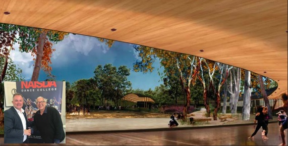 A view of the proposed centre. Inset: Adam Crouch, Member for Terrigal, with, Kim Walker, CEO of NAISDA
