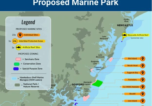 Map of proposed marine park off the Central Coast