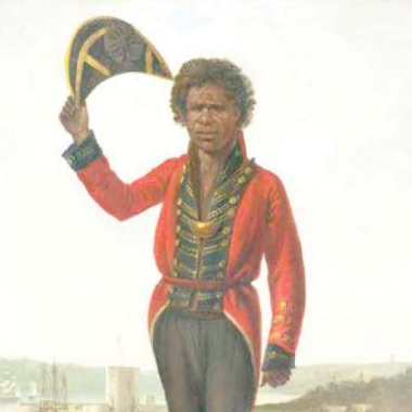 Portrait of Bungaree with Fort Macquarie, Sydney Harbour, in background 1826. Image: By Augustus Earle From the National Library of Australia