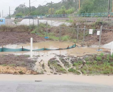 Flooding at the construction site for the rail maintenance facility.