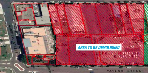 The Stage 1A development area proposed for demolition The Stage 1A development area proposed for demolition