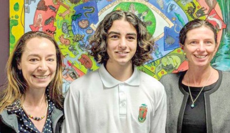 Tuggerah Lakes Secondary College's Logan Losurdo (centre) has taken out the AVID National Student Speaker Competition