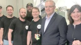 Prime Minister Scott Morrison, Federal Member for Robertson Lucy Wicks and the team from Kombucha Zest