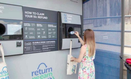 A community member using a Return and Earn reverse vending machine