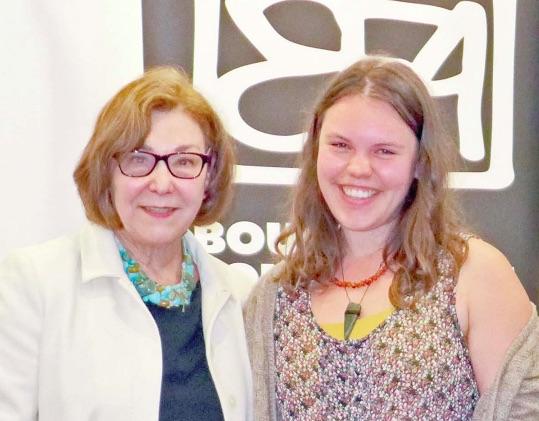 Joy Park presents a grant award to dancer Shana O'Brien from Umina