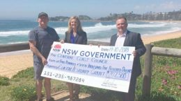 Member for Terrigal, Adam Crouch, presenting a cheque to Phil Hudson of the Wamberal Protection Association with Clr Jilly Pilon