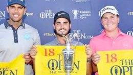 Jake McLeod, Abraham Ancer and Dimitrios Papadatos on the Aus Open podium