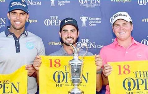Jake McLeod, Abraham Ancer and Dimitrios Papadatos on the Aus Open podium