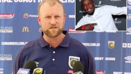 Central Coast Mariners CEO Shaun Mielekamp announces the end of the Usain Bolt (inset) era.