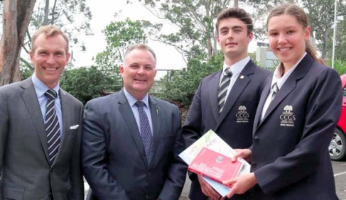 Education Minister, Rob Stokes, Member for Terrigal, Adam Crouch, and CCGS Head Prefects, Patrick McGimpsey and Isabelle Bennett