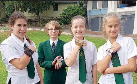 Year 7 students from Central Coast Grammar School with their handmade fitbits