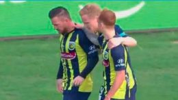 Celebrating Ross McCormack's goal against Melbourne City