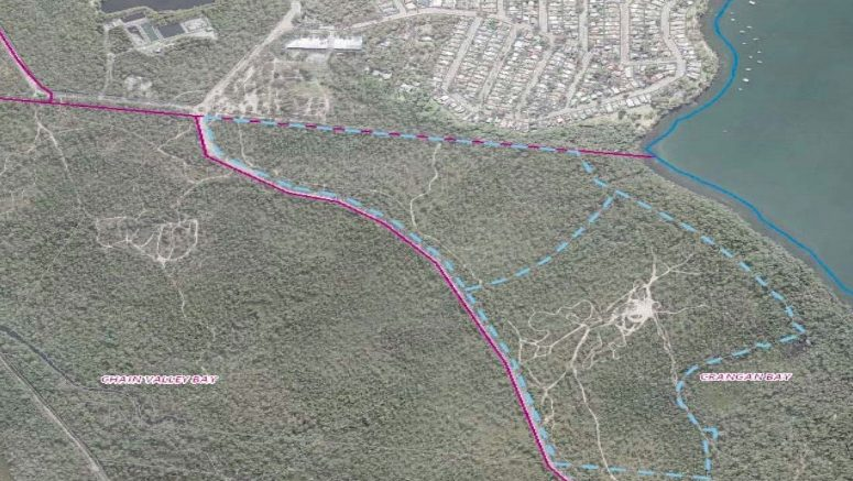 Aerial photo showing subject site and surrounding land outlined in blue