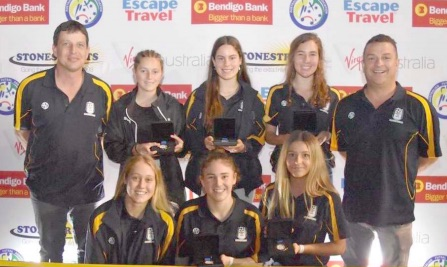 Paris Blair (front row, centre) with her fellow Central Coast-Newcastle teammates and coaches