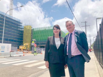 Federal Member for Robertson, Lucy Wicks, with Dean of the Ourimbah Campus of the University of Newcastle, Dr Brok Glenn, at the Central Coast Medical School site