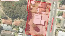 An overview of the proposed United service station site on Ocean Beach Rd, Umina