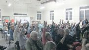 A show of hands from the community members who attended the Mangrove Mountain meeting to oppose any decision to re-open the landfill