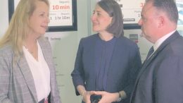 NSW Premier Gladys Berejiklian, with Member for Terrigal, Adam Crouch and the Liberal candidate for Gosford, Sue Dengate, at Gosford Train Station