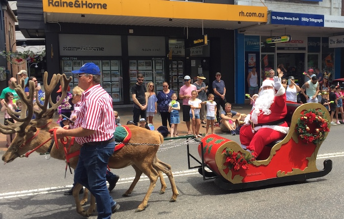 Santa was in town with two very real reindeer.