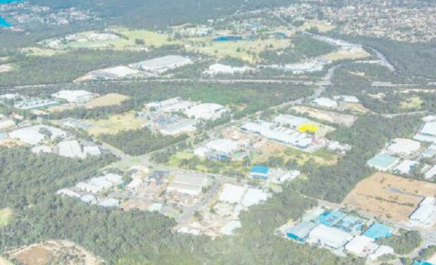 Aerial view of parts of the Somersby employment area