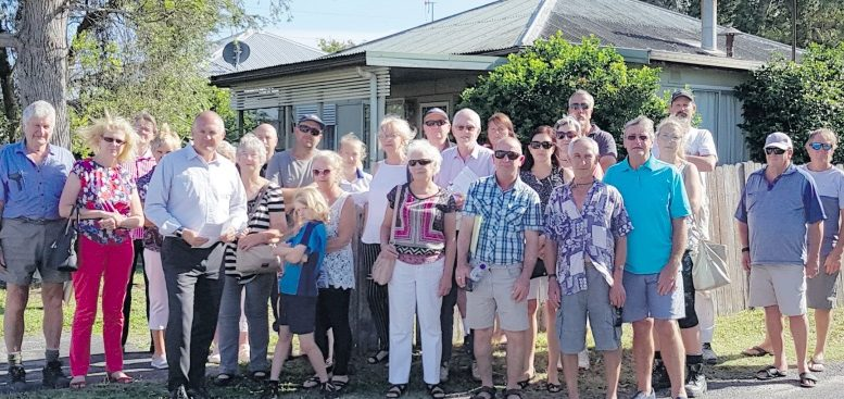 Concerned residents from the Toukley Community Action Group with Member for Wyong, David Harris, on the corner of Dunleigh St and Tamar Ave