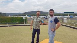 Sam Ferry and Chris Farnon on the bowling green that will be the site of their weekly beer garden events in Woy Woy