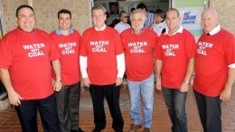Mr Barry O'Farrell and Mr Alan Hayes (centre) with four Liberal politicians promising to stop Wallarah 2 in 2011 Photo: Alan Hayes
