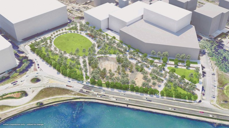 Artists' impressions of the new-look Leagues Club Field in Gosford