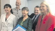 Five of the eight candidates for Robertson at the ballot draw on April 24. From left: Lucy Wicks, David Abrahams, Cath Connor, Robert Marks and Anne Charlton