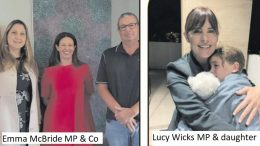 Emma McBride MP (left) at Coast Shelter. Lucy Wicks MP (left) & daughter Molly