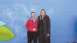 Emma McBride with Rachel Willis at the Coast Shelter Homelessness Week memorial service