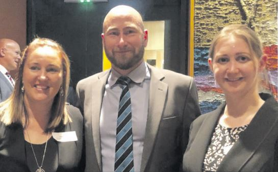 Tarley Jones and Katherine Brownlee with Gosford High School Principal, Michael Smith