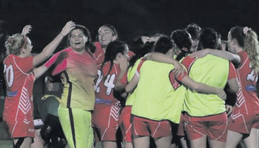 Gosford City celebrating their major semis win Photo: Central Coast Football