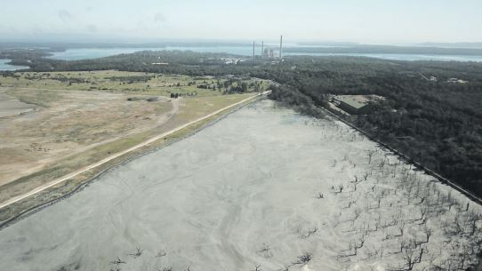 The ash dam at Vales Point Power Station