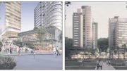 (left) The proposed St Hilliers Mann St development (Right) The Lederer Group's proposed development on the former Kibbleplex site