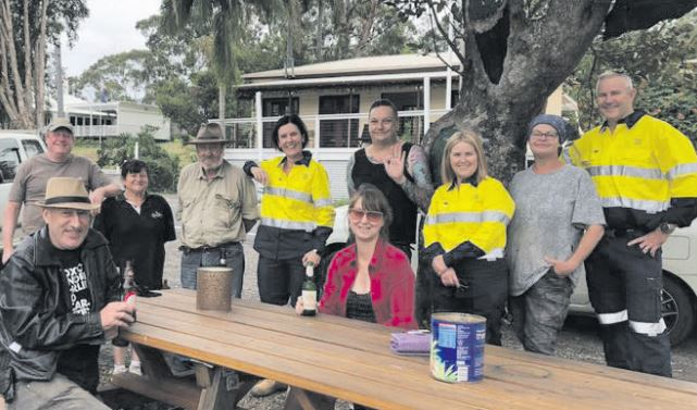 Central Coast Mayor, Lisa Matthews, meets with residents and firefighters at Spencer