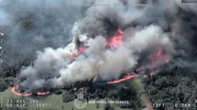 The Three Mile fire in full blaze