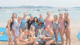 Women competitors at the Terrigal Beach water polo fours